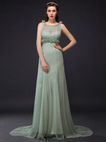 Chic Sheath/Column Scoop Modest Tulle Long Prom Dress Evening Dress AM582