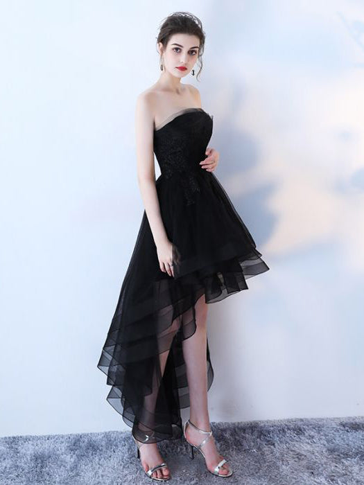 164b265b0e5 ... Chic A-line Black Strapless Simple Tulle High Low Prom Dress Evening  Dress AM584 ...