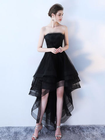 Chic A-line Black Strapless Simple Tulle High Low Prom Dress Evening Dress AM584