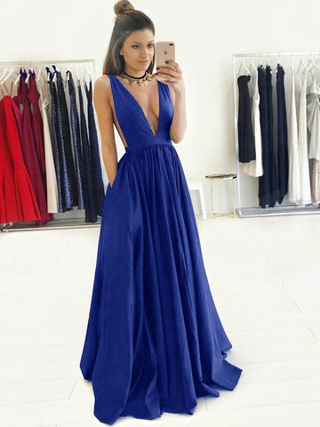 Chic A-line V-neck Royal Blue Simple Long Prom Dress Evening Dress AM587