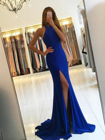 Chic Trumpet/Mermaid Scoop Royal Blue Simple Long Prom Dress Evening Dress AM590