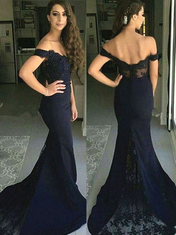 Chic Trumpet/Mermaid Off-the-shoulder Black Modest Long Prom Dress Evening Dress AM592