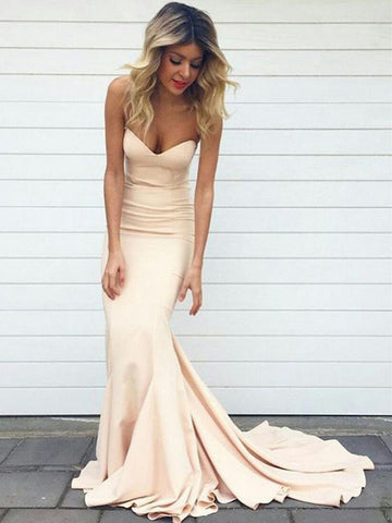Chic Trumpet/Mermaid Sweetheart Simple Long Prom Dress Evening Dress AM593