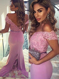 Chic Trumpet/Mermaid Off-the-shoulder Lace Long Prom Dress Evening Dress AM594