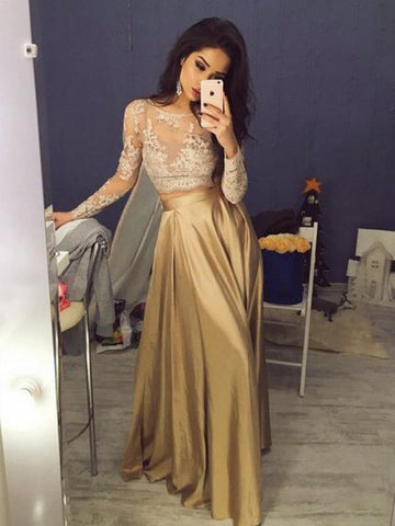 Chic Two Pieces A-line Scoop Gold Lace Long Prom Dress Evening Dress AM595