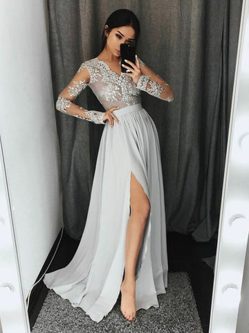 Chic A-line Silver V-neck Applique Long Sleeve Prom Dress Evening Dress AM597