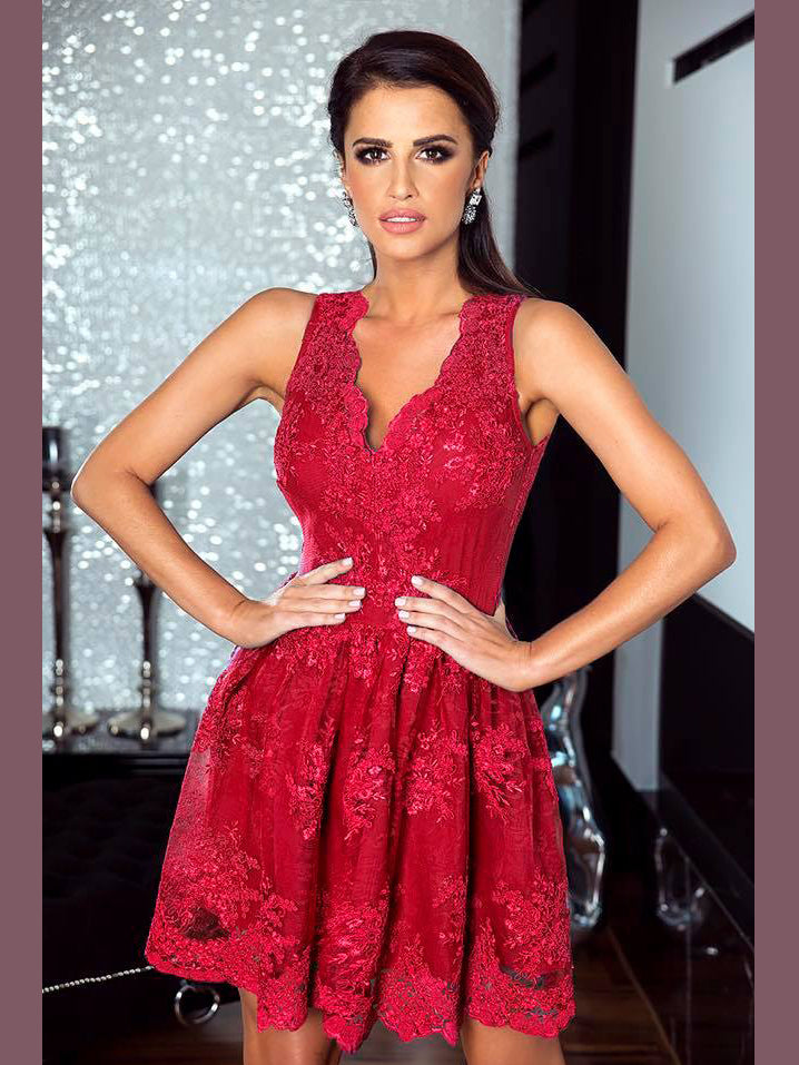 c51278c9612235 Chic A-line V-neck Burgundy Tulle Applique Lace Short Prom Dress Homecoming  Dress