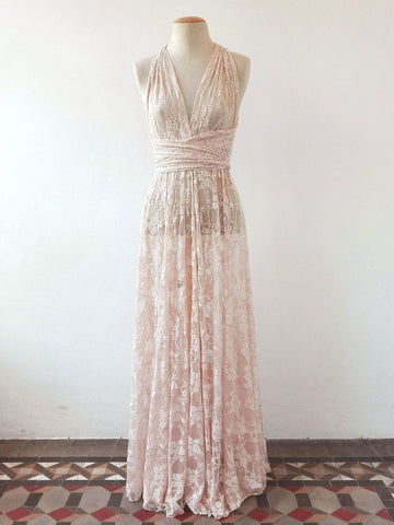 Chic Sheath/Column Pearl Pink V-neck Lace Modest Long Prom Dress Evening Dress AM604