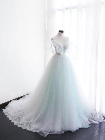Chic A-line Green Scoop Applique Tulle Modest Prom Dress Wedding Dress AM606