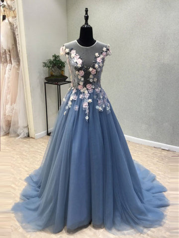 Chic A-line Blue Scoop Applique Tulle Modest Prom Dress Evening Dress AM608