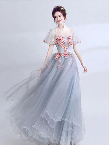 Chic A-line Scoop Applique Tulle Short Sleeve Long Prom Dress Evening Dress AM609