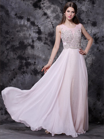 Chic Pink Prom Dresses Long Scoop Modest Cheap Long Prom Dress With Beading AM617