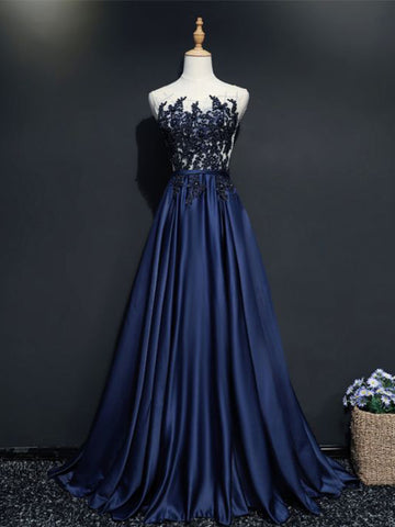 Chic A-line Scoop Dark Navy Floor Length Applique Long Prom Dress Evening Dress AM618