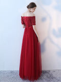 Chic A-line Off-the-shoulder Burgundy Floor Length Long Prom Dress Evening Dress AM620