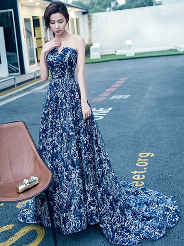 Chic A-line Strapless Royal Blue Tulle Long Prom Dress Evening Dress AM621