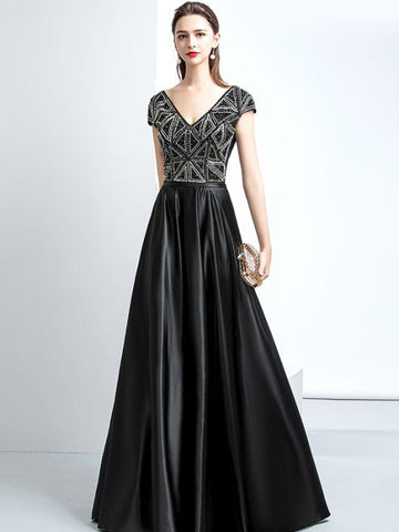 Chic A-line V-neck Black Satin Modest Long Prom Dress Evening Dress AM622