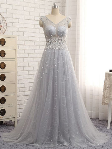 Chic A-line V-neck Applique Tulle Silver Long Prom Dress Evening Dress AM623