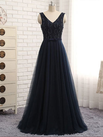 Chic A-line V-neck Beading Tulle Dark Navy Long Prom Dress Evening Dress AM624