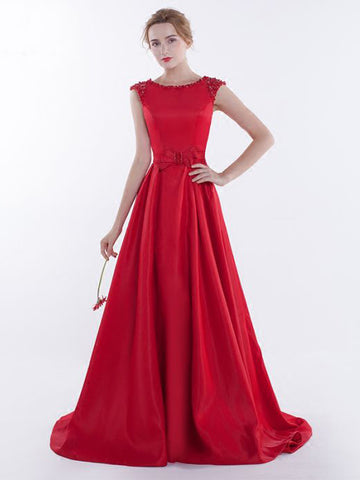 Chic A-line Scoop Red Satin Beading Modest Long Prom Dress Evening Dress AM626