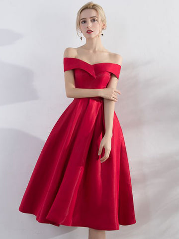 Chic A-line Simple Off-the-shoulder Red Satin Short Prom Dress Evening Dress AM627