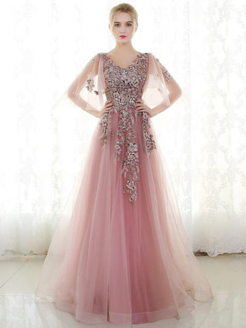 Chic A-line V-neck Applique Tulle Pink Modest Long Prom Dress Evening Dress AM628