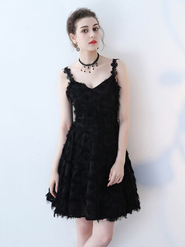 Chic A-line Little Black Spaghetti Straps Lace Modest Homecoming Dress Cocktail Dress AM629