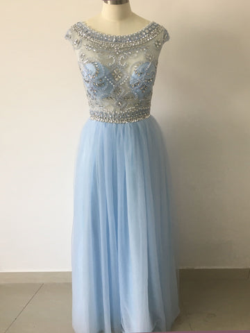 Chic A-line Ligh Sky Blue Scoop Beading Tulle Modest Prom Dress Evening Dress AM630