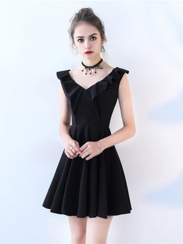 Chic A-line V-neck Little Black Flouncing Simple Short Prom Dress Cocktail Dress AM630