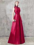 A-line Red High Neck Satin Beading Chic Long Prom Dress Evening Dress AM632