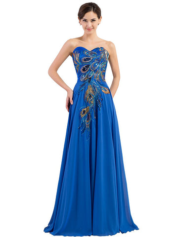 Chic A-line Sweetheart Beading Chiffon Blue Modest Long Prom Dress Evening Dress AM632