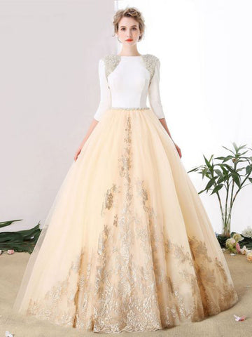 Chic A-line Bateau Tulle 3/4 Sleeve Beading Modest Prom Dress Evening Dress AM634