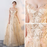 A-line Off-the-shoulder Tulle Beading Chic Long Prom Dress Evening Dress AM635