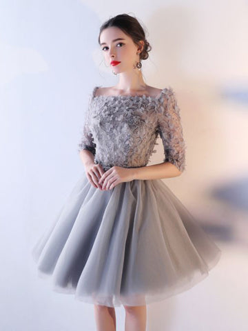 Chic A-line Square Silver Tulle Applique Short Prom Dress Homecoming Dress AM636
