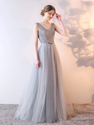 Chic Silver Prom Dress A-line V-neck Tulle Prom Dress Evening Dress AM637