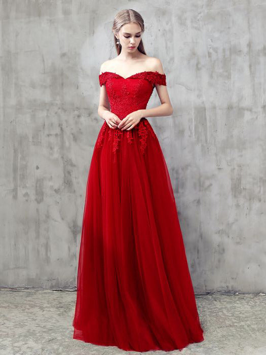 4c65fd633 Red A-line Off-the-shoulder Tulle Applique Chic Long Prom Dress Evenin –  AmyProm