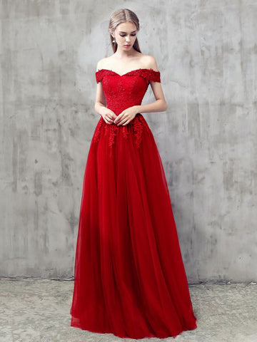 Red A-line Off-the-shoulder Tulle Applique Chic Long Prom Dress Evening Dress AM639