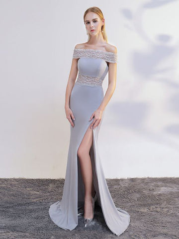 Chic Trumpet/Mermaid Silver Off-the-shoulder Lace Modest Prom Dress Evening Dress AM641