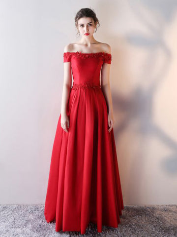 Chic A-line Red Off-the-shoulder Applique Modest Prom Dress Evening Dress AM642