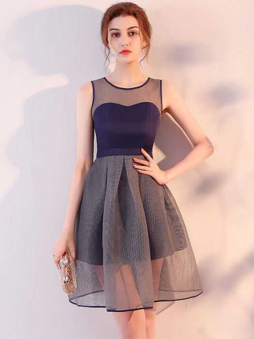 Chic A-line Dark Navy Scoop Tulle Simple Short Prom Dress