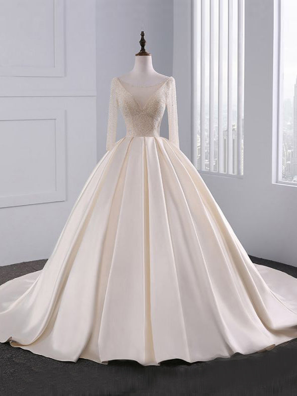Chic A-line Ivory Scoop Satin Long Sleeve Beading Modest Prom Dress Wedding Dress AM644