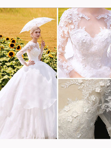 Chic A-line White Scoop Tulle Long Sleeve Applique Lace Modest Wedding Dress AM645
