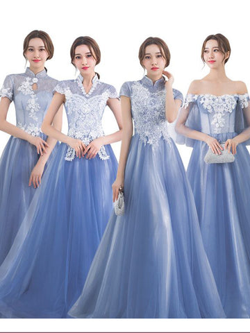 Chic A-line High Neck Tulle Lace Modest Blue Long Prom Dress Evening Dress AM647