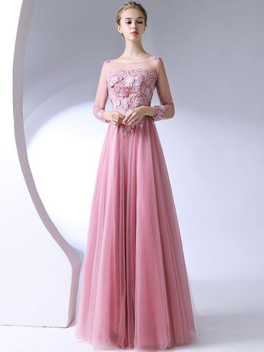 Chic A-line Pink Scoop Tulle Long Sleeve Applique Modest Prom Dress Evening Dress AM648