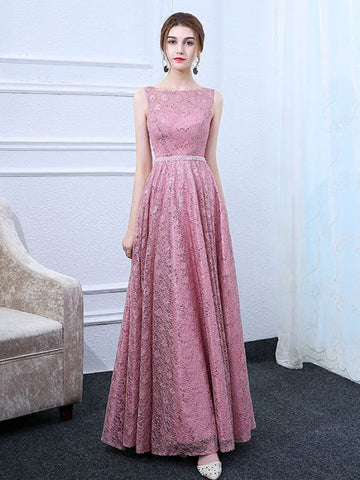 Pink A-line Bateau Tulle Lace Chic Long Prom Dress Evening Dress AM649