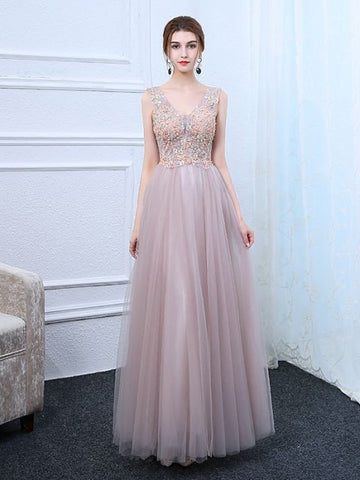 Chic A-line V-neck Tulle Applique Modest Long Prom Dress Evening Dress AM650