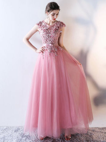 Chic A-line Scoop Tulle Applique Modest Pink Long Prom Dress Evening Dress AM651
