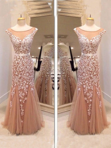 Chic Trumpet/Mermaid Scoop Tulle Applique Modest Long Prom Dress Evening Dress AM657
