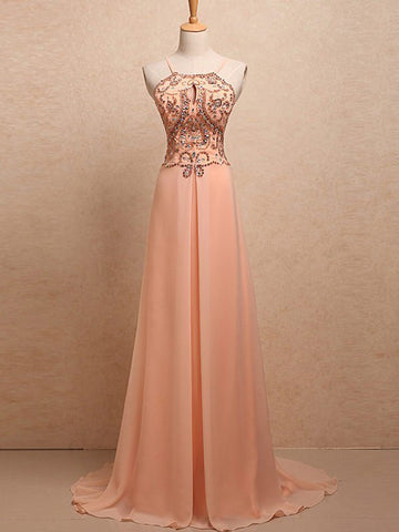 Chic A-line Spaghetti Straps Chiffon Beading Modest Long Prom Dress Evening Dress AM658