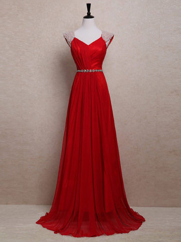 Chic A-line Straps Chiffon Beading Modest Red Long Prom Dress Evening Dress AM659