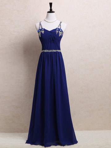 Chic A-line Spaghetti Straps Royal Blue Chiffon Beading Prom Dress Evening Dress AM660